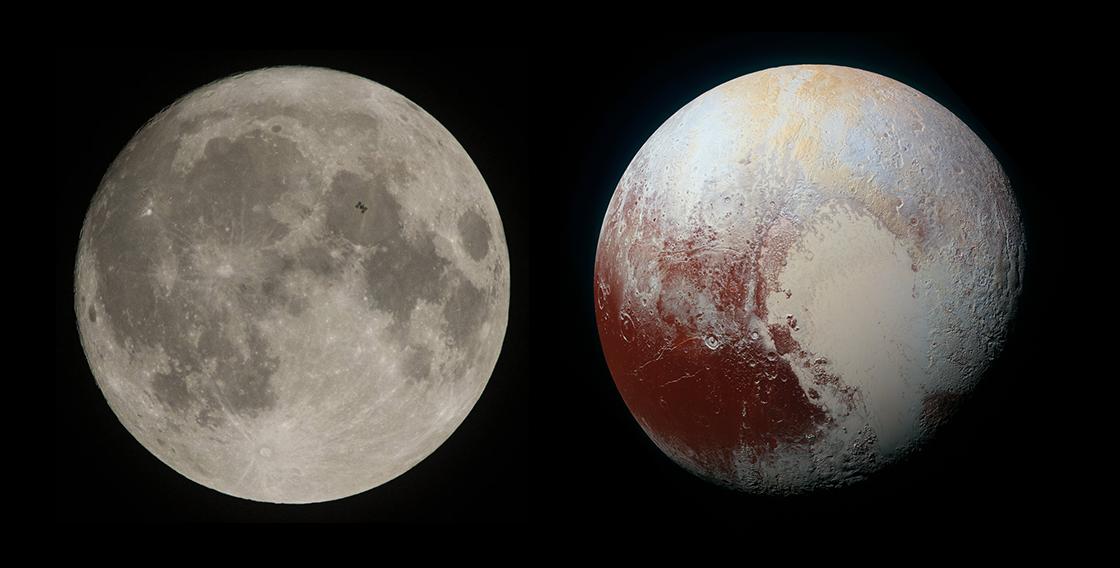 달과 명왕성 비교사진