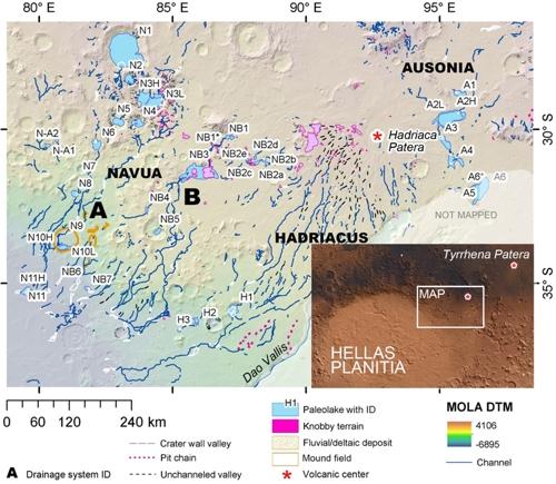 헬라스 분지 북동부서 발견된 고대 호수 지도