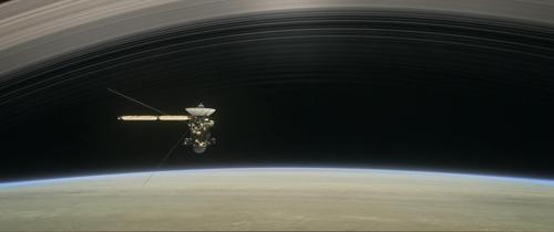 토성탐사선 '카시니호'의 최후임무 '그랜드 피날레' 상상도
