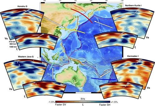 서태평양 주변 섭입대에서의 S파속도(Vs)와 이방성(ξ) 수직단면도