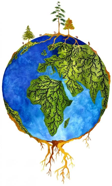 나무 뿌리와 균근 균 관계를 상징화한 '우드와이드웹' 그림