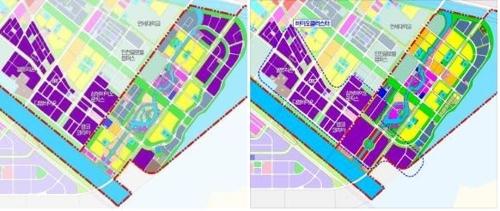 송도 산업용지 재배치 전(왼쪽)·후 위치도