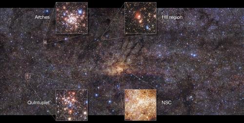 우리은하 중심부의 주요 성단을 확대한 장면