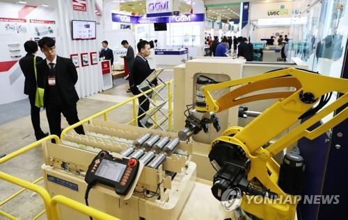 산업용 로봇 전시된 스마트공장엑스포