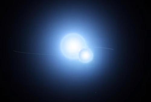 고대 북극성 용자리 알파와 짝별의 일식 상상도