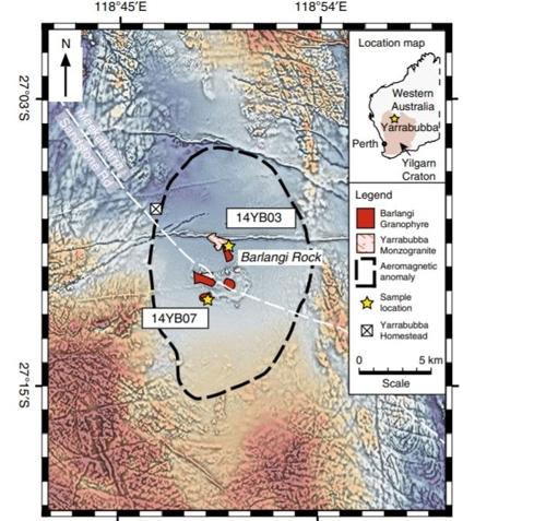 호주 서부 야라부바 충돌구 위치와 주변 지도