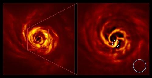 오른쪽 이미지의 흰 원 안이 행성이 형성 중인 접점
