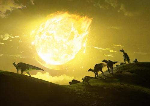 멕시코 유카탄반도에 소행성이 충돌하는 순간 상상도