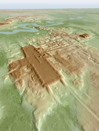 라이다 탐사를 바탕으로 한 아쿠아다 페닉스 마야문명 유적지 3D 사진
