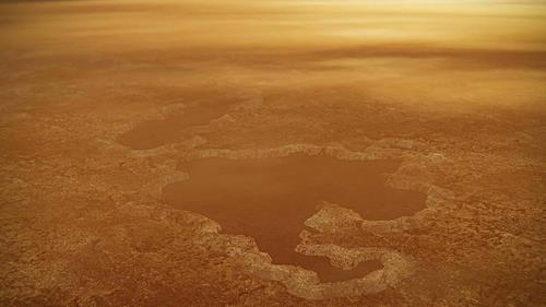 타이탄 북극의 메탄 호수 상상도