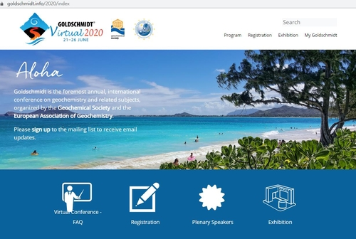 코로나19 확산으로 온라인으로 진행된 골드슈미트 콘퍼런스 홈페이지
