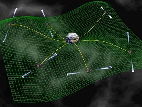 지구에서 우리 은하의 펄서 전파를 포착하는 상상도