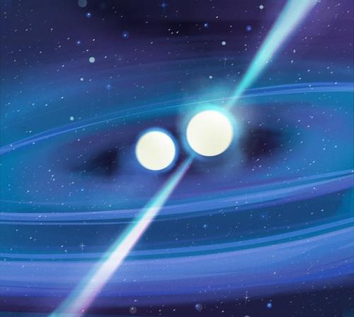 비대칭 펄서 이중성계  PSR J1913+1102 상상도