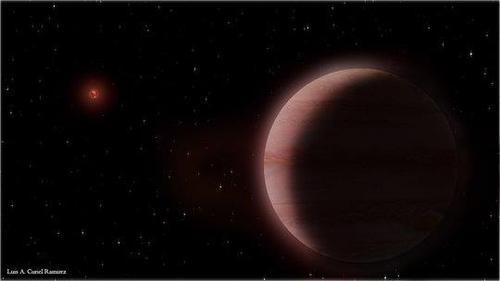 저온 적색왜성을 도는 토성급 행성 상상도