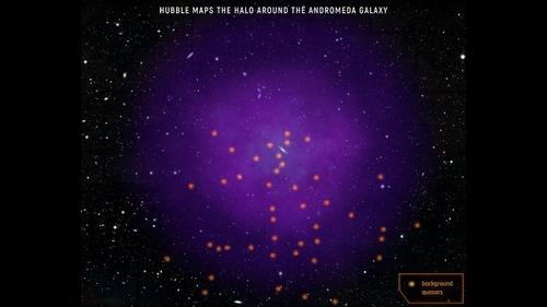 허블로 포착한 안드로메다 은하와 헤일로
