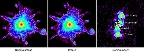 왼쪽부터 원본 이미지, 천왕성 이미지, 천왕성을 제거한 5개 주요 위성 이미지