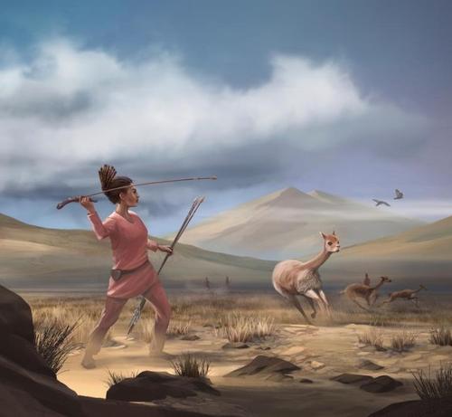 선사시대 수렵채집 사회의 여성 사냥꾼 상상도