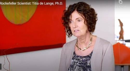 텔로미어의 암 억제 기제에 관해 설명하는 더랑어 교수