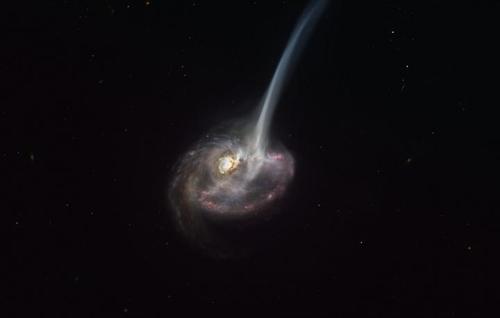 가스를 방출하는 ID2299 은하 상상도