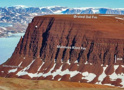 목이 긴 공룡 화석이 발굴된 그린란드 중동부 제임슨랜드의 벼랑