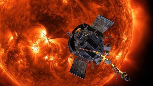 태양에 접근하는 태양탐사선 파커호 상상도