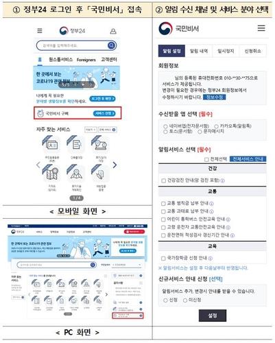 '국민비서' 생활정보(7종) 안내 서비스 신청 화면