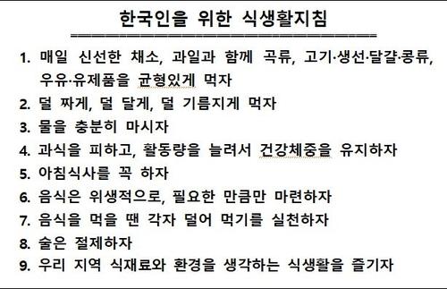 한국인을 위한 식생활지침 전문