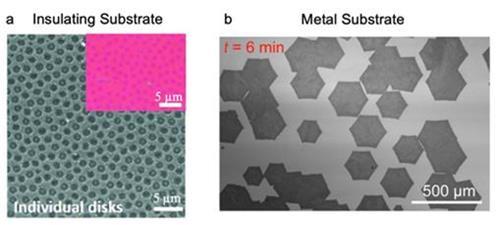 절연체 기판(왼쪽)과 금속 기판(오른쪽) 위에서 그래핀 합성 과정 차이