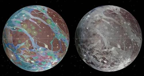보이저 1,2호와 갈릴레오가 포착한 이미지를 합성한 목성의 행성급 위성 '가니메데'