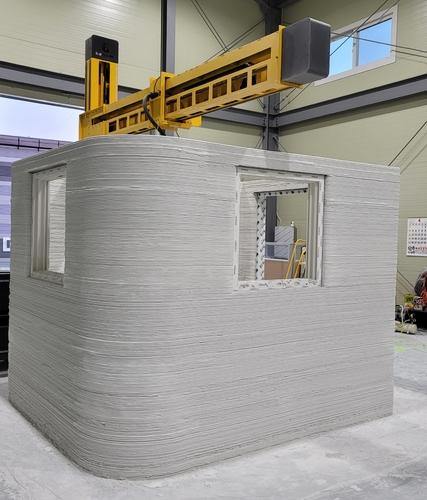 삼성엔지니어링이 3D 프린팅 로봇을 통해 건축물을 제작하는 모습