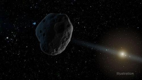 우주 어둠 속 검은 소행성