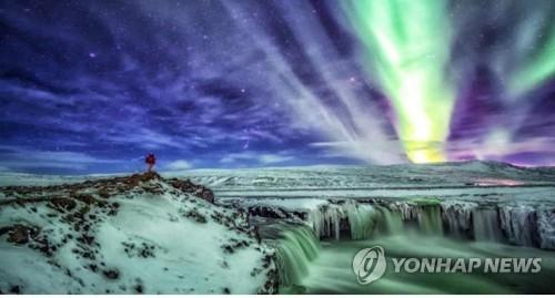 오로라가 담긴 남극 사진