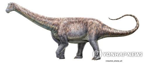 칠레 아타카마사막에서 화석이 발견된 초식공룡의 상상도