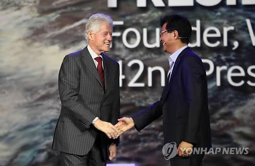 우남성 삼성 사장과 클린턴 전 美 대통령 만남