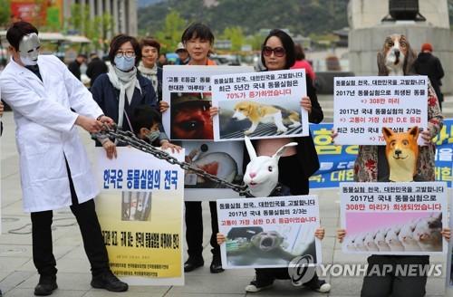 지난해 4월24일 서울 광화문광장에서 열린 세계 실험동물의 날 기자회견