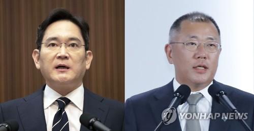 이재용 삼성그룹 부회장-정의선 현대차그룹 수석부회장